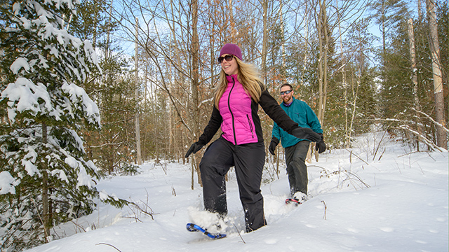Couple snowshoeing in forest trail