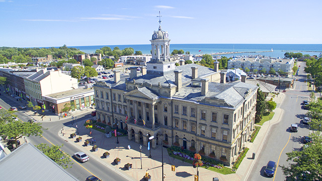 Aerial view of downtown Cobourg