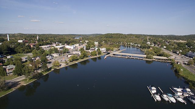 Drone view of Trent Severn Waterway and Hastings