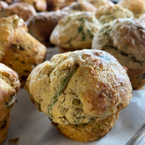 Rows of fresh, savoury muffins from local bakery