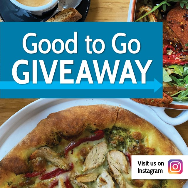 Good to Go Instagram Giveaway text overlaid on image of plated pizza and casserole