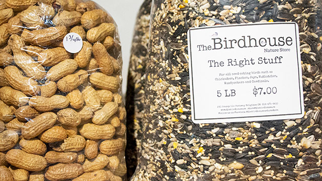 Close up of peanuts and bird seed in bags