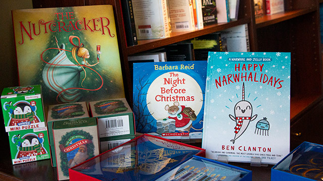 Holiday books in retail store