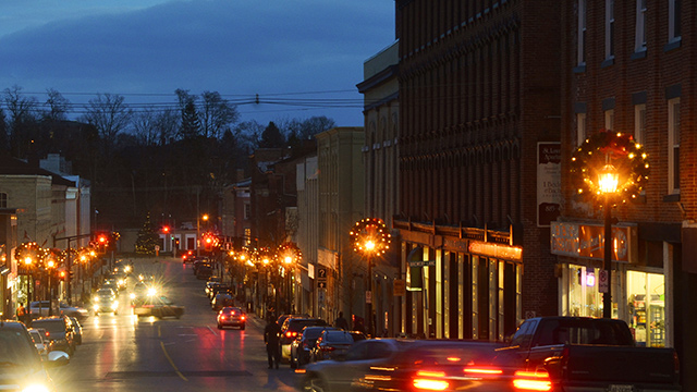 Downtown Port Hope at night with Christmas decorations