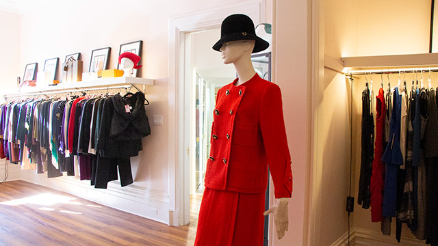 Designers clothes in retail boutique