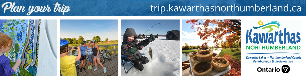 Banner including multiple images of Northumberland County plus logos for Kawarthas Northumberland and Ontario Tourism