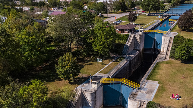 Drone image of locks 11 and 12 on the Trent Severn Waterway in Campbellford
