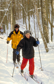 Mom and daughter cross country skiing Northumberland County Forest