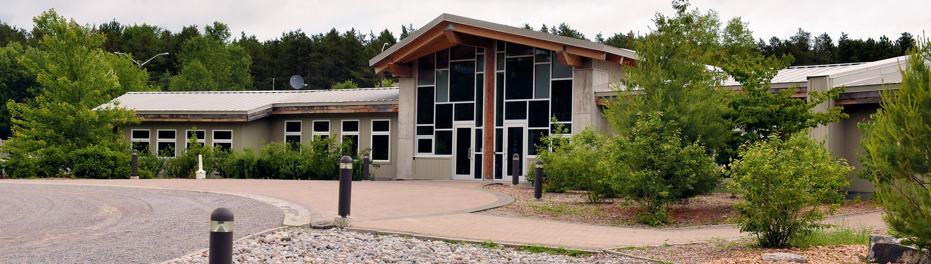 Exterior of Ganaraska Forest Centre building in summer
