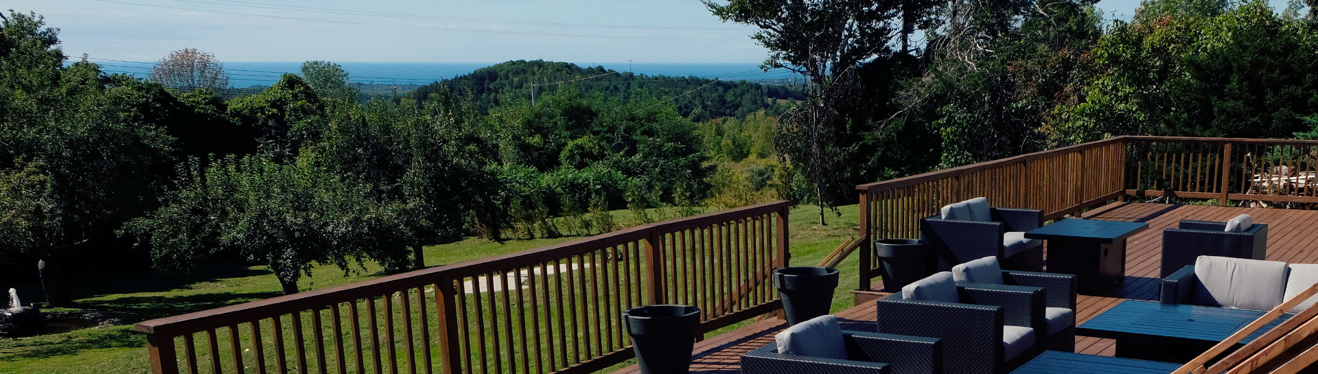 scenic view of rolling hills from patio of Northumberland Heights spa
