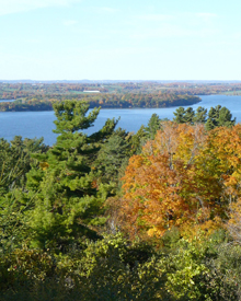 view of Rice Lake with fall colours