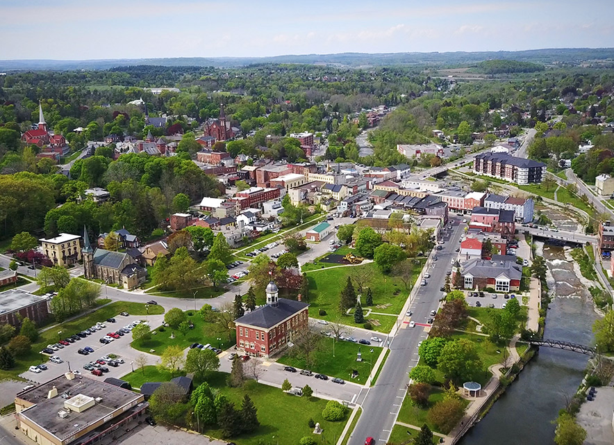 Aerial image of downtown Port Hope