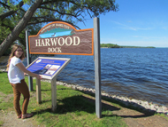 lady beside Harwood Dock interpretive signage