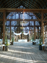 wedding decor inside Polmenna Barn
