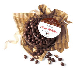 container of chocolate almonds