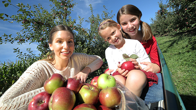 Woman with two young girls at apple orchard