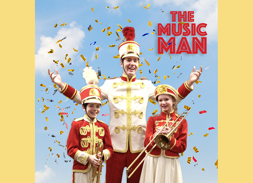 Music Man poster graphic for VOS Theatre