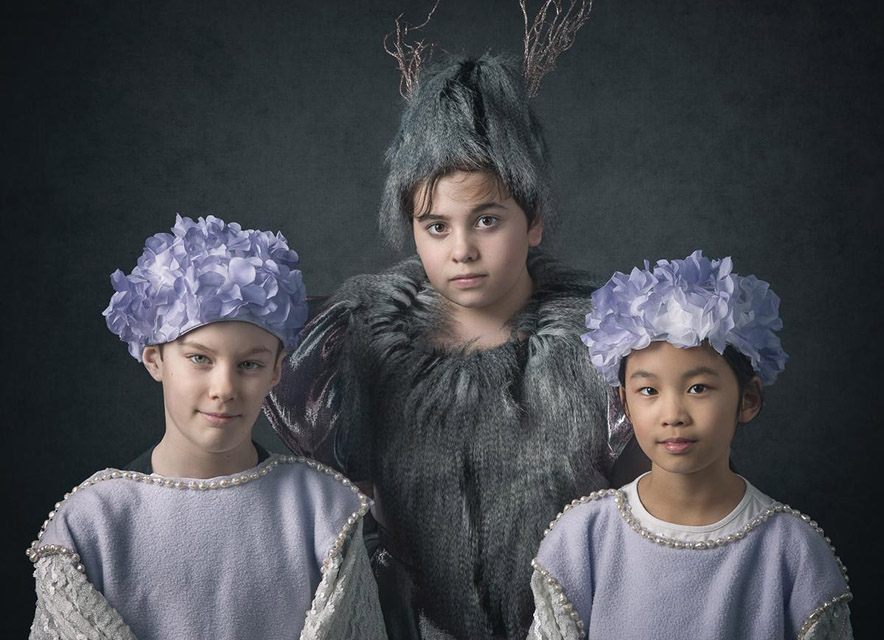 Portrait of young female actors in costume for The Snow Queen at Westben