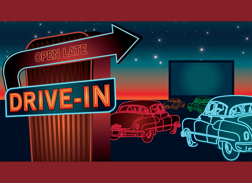 Port Hope Drive in illustration of drive in sign with cars and screen