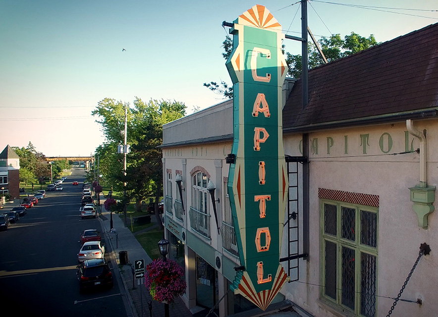 Capitol Theatre marquee in downtown Port Hope