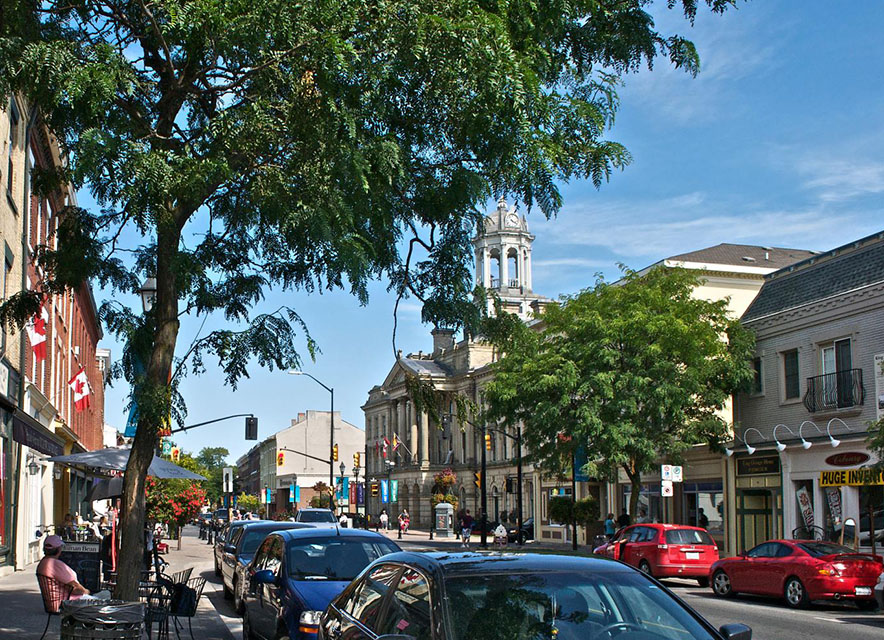 Downtown Cobourg shops and Victoria Hall in Summer