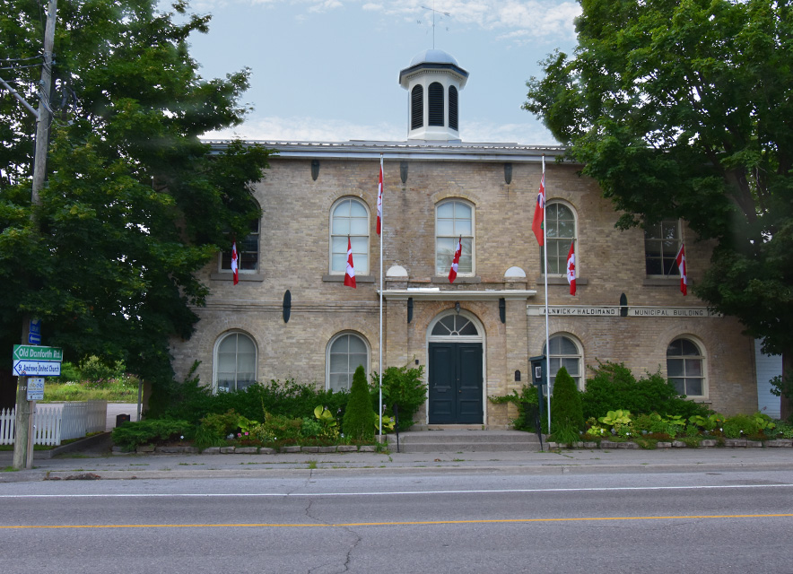 Alnwick Haldimand Town Hall exterior in summer