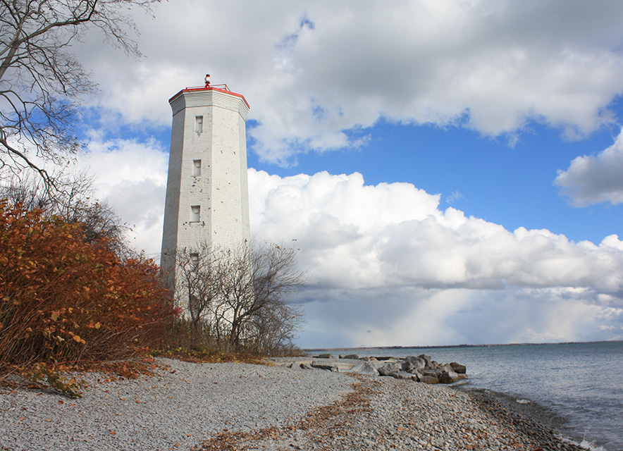 Lighthouse at Presqu'ile Provincial Park in fall
