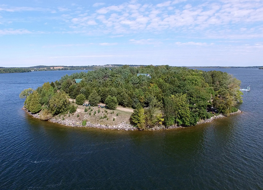 Drone shot of Grasshopper Island on Rice Lake