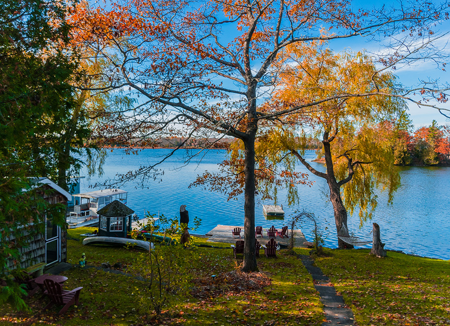Boat launch in fall at Windswept Inn
