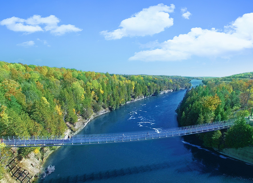 Aerial view of suspension bridge over Trent River Campbellford