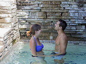 woman and man in hot tub