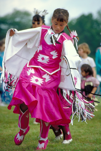 Young girl dancing at Pow Wow
